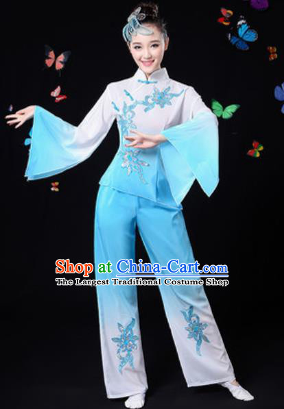Traditional Chinese Yangko Dance Light Blue Clothing Folk Dance Fan Dance Stage Performance Costume for Women