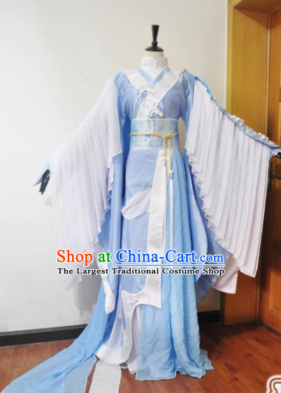 Traditional Chinese Cosplay Court Princess Blue Hanfu Dress Ancient Swordswoman Embroidered Costume for Women