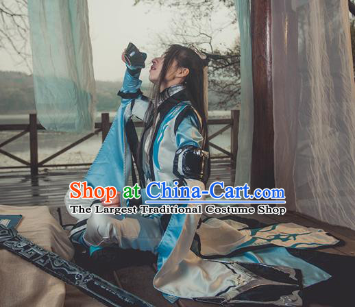Traditional Chinese Cosplay Nobility Childe Hanfu Clothing Ancient Swordsman Embroidered Costume for Men