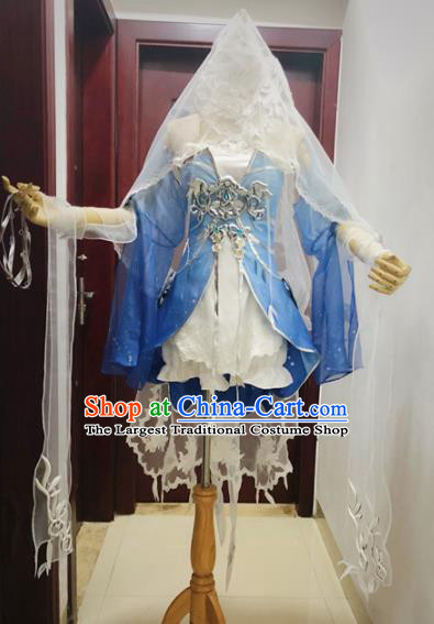 Traditional Chinese Cosplay Female Knight Blue Hanfu Dress Ancient Swordswoman Embroidered Costume for Women
