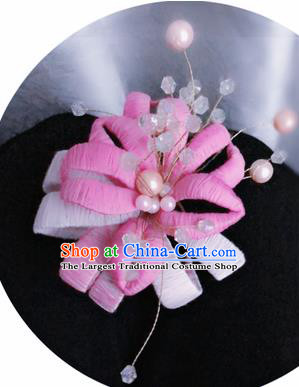Traditional Chinese Qing Dynasty Pink Velvet Flowers Hairpins Handmade Ancient Palace Hair Accessories for Women
