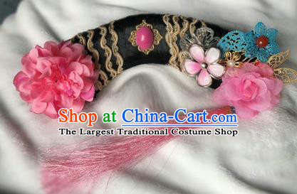 Traditional Chinese Qing Dynasty Imperial Consort Rosy Peony Headwear Ancient Palace Manchu Hair Accessories for Women