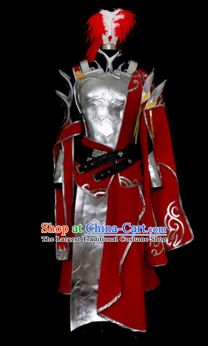 Traditional Chinese Cosplay Kawaler Red Hanfu Clothing Ancient Swordsman Embroidered Costume for Men