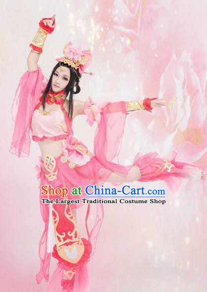Traditional Chinese Cosplay Swordswoman Pink Hanfu Dress Ancient Peri Princess Embroidered Costume for Women