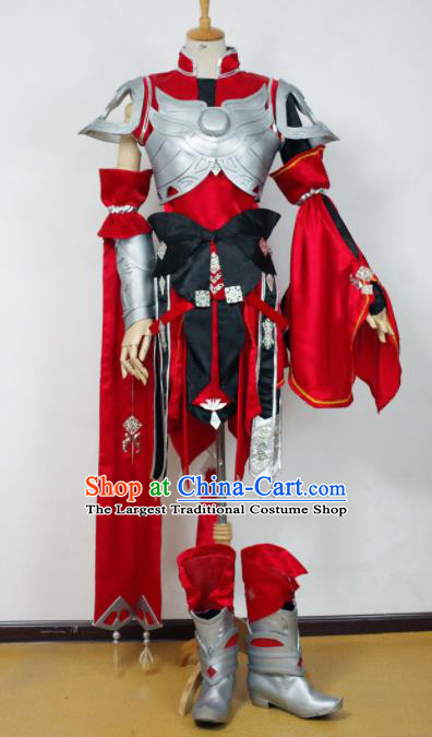 Traditional Chinese Cosplay Kawaler Red Armour Clothing Ancient Swordsman Embroidered Costume for Men