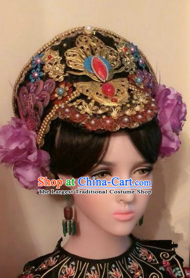 Traditional Chinese Qing Dynasty Palace Lady Hat Headwear Ancient Manchu Hair Accessories for Women