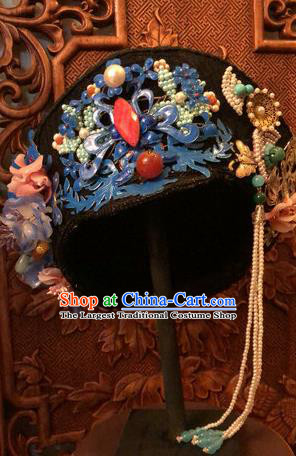 Traditional Chinese Qing Dynasty Palace Lady Cloisonne Phoenix Hat Headwear Ancient Manchu Hair Accessories for Women