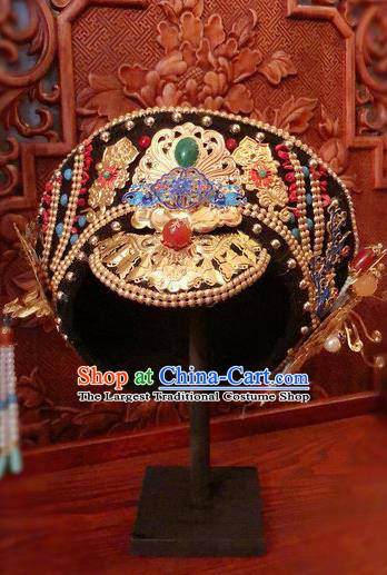 Traditional Chinese Qing Dynasty Palace Lady Jade Hat Headwear Ancient Manchu Hair Accessories for Women