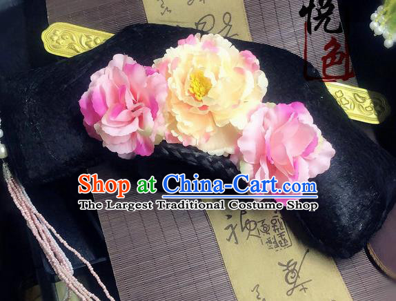 Traditional Chinese Qing Dynasty Palace Lady Pink Peony Headwear Ancient Manchu Hair Accessories for Women