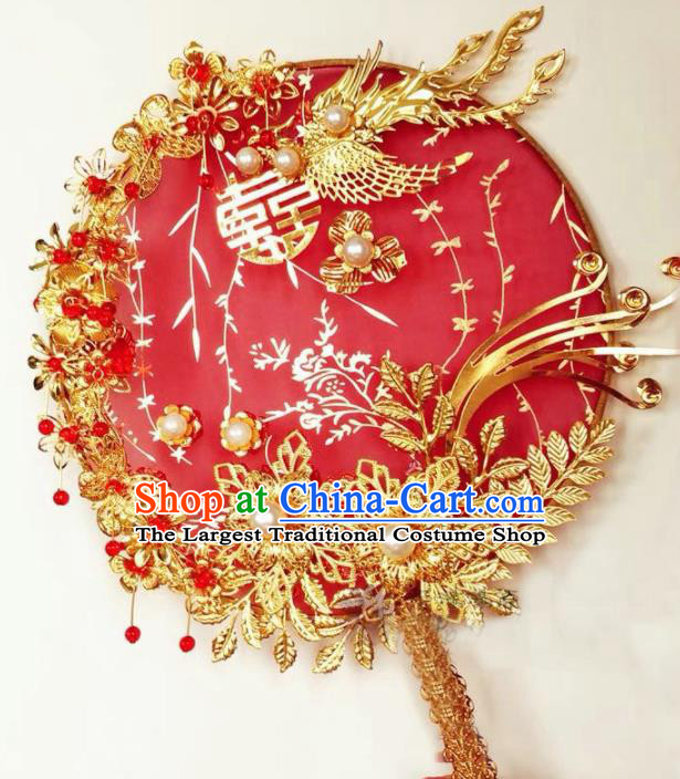 Traditional Chinese Wedding Palace Fans Ancient Palace Bride Red Round Fan Accessories for Women