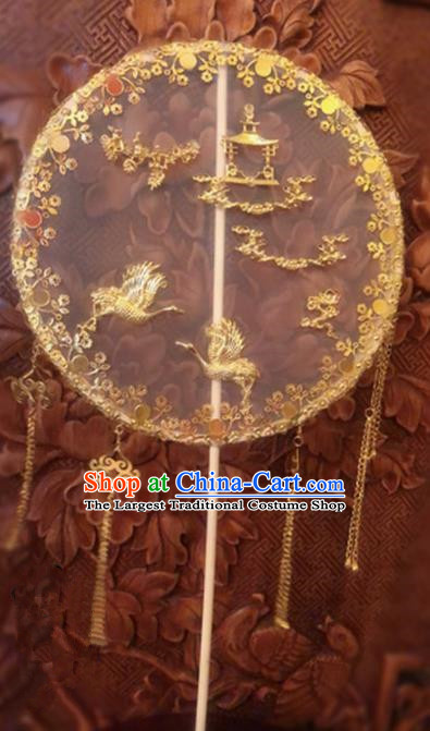 Traditional Chinese Wedding Golden Crane Tassel Palace Fans Ancient Palace Bride Round Fan Accessories for Women
