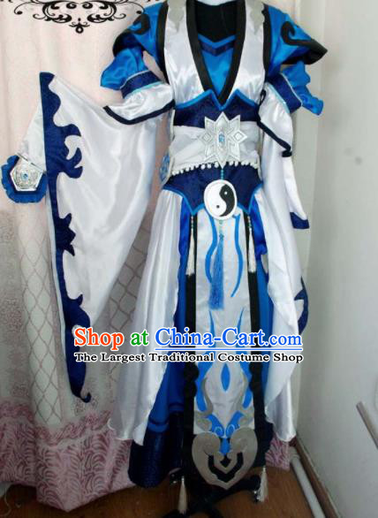 Traditional Chinese Cosplay Taoist Priest Knight Clothing Ancient Swordsman Embroidered Costume for Men