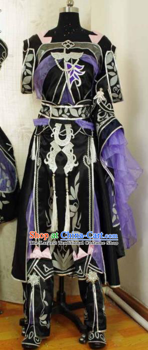 Traditional Chinese Cosplay Swordswoman Purple Hanfu Dress Ancient Court Princess Embroidered Costume for Women