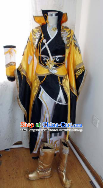 Traditional Chinese Cosplay Knight Yellow Clothing Ancient Swordsman Embroidered Costume for Men