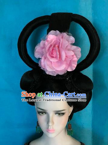 Traditional Chinese Tang Dynasty Imperial Consort Wigs Ancient Empress Chignon Hair Accessories for Women