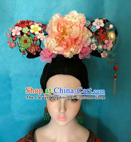 Traditional Chinese Qing Dynasty Palace Princess Pink Peony Headwear Ancient Manchu Lady Hair Accessories for Women
