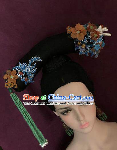 Traditional Chinese Qing Dynasty Palace Princess Tassel Headwear Ancient Manchu Lady Hair Accessories for Women