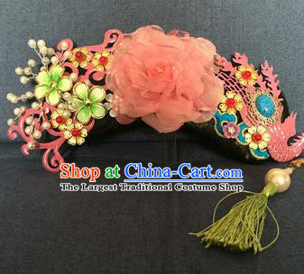 Traditional Chinese Qing Dynasty Palace Pink Phoenix Coronet Headwear Ancient Manchu Lady Hair Accessories for Women