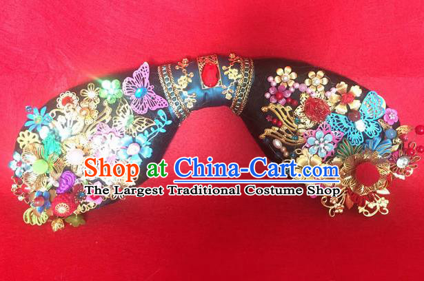 Traditional Chinese Qing Dynasty Princess Butterfly Headwear Ancient Manchu Lady Hair Accessories for Women