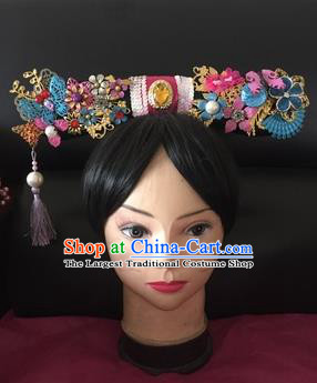 Traditional Chinese Qing Dynasty Princess Purple Tassel Headwear Ancient Manchu Lady Hair Accessories for Women