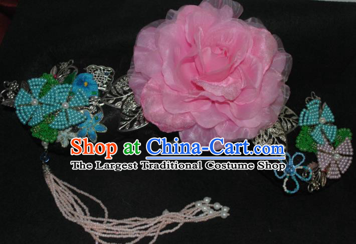 Traditional Chinese Qing Dynasty Princess Pink Peony Tassel Headwear Ancient Manchu Lady Hair Accessories for Women