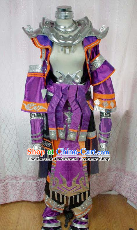 Traditional Chinese Cosplay Warrior Purple Clothing Ancient Swordsman Embroidered Costume for Men