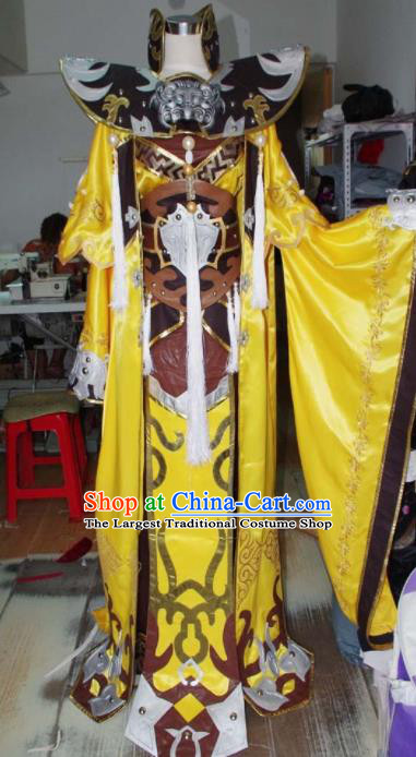Traditional Chinese Cosplay Royal Highness Knight Yellow Clothing Ancient Swordsman Embroidered Costume for Men