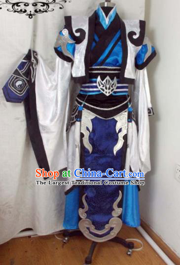 Traditional Chinese Cosplay Royal Highness Blue Clothing Ancient Swordsman Embroidered Costume for Men