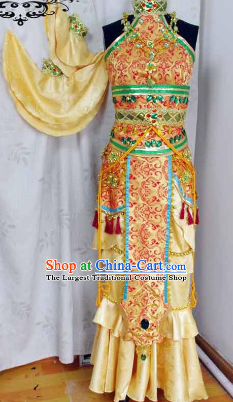 Traditional Chinese Cosplay Swordswoman Golden Hanfu Dress Ancient Female Knight Embroidered Costume for Women