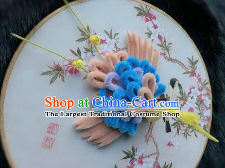 Traditional Chinese Handmade Palace Hair Accessories Ancient Qing Dynasty Velvet Phoenix Hairpins for Women