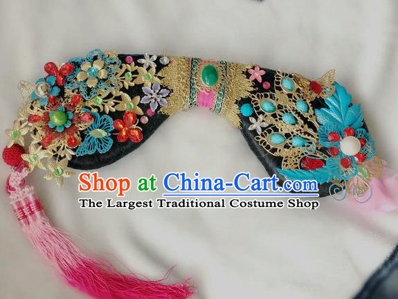 Traditional Chinese Qing Dynasty Imperial Consort Blue Phoenix Headwear Ancient Palace Manchu Hair Accessories for Women