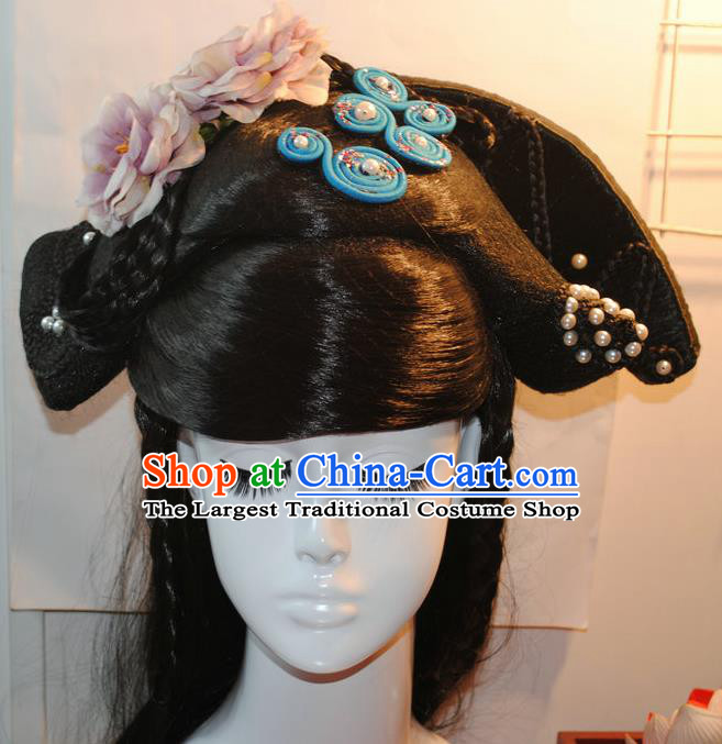 Traditional Chinese Tang Dynasty Imperial Consort Wigs Ancient Peri Goddess Chignon Hair Accessories for Women