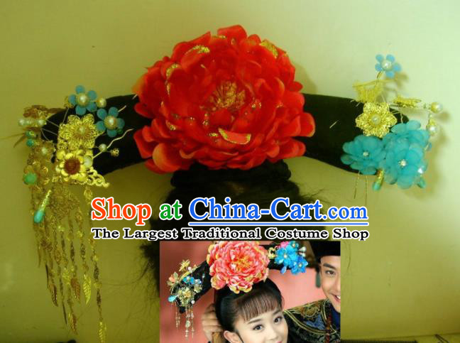 Chinese Traditional Qing Dynasty Princess Red Peony Headwear Ancient Palace Lady Hair Accessories for Women