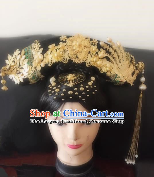 Chinese Traditional Qing Dynasty Princess Phoenix Coronet Headwear Ancient Palace Lady Hair Accessories for Women