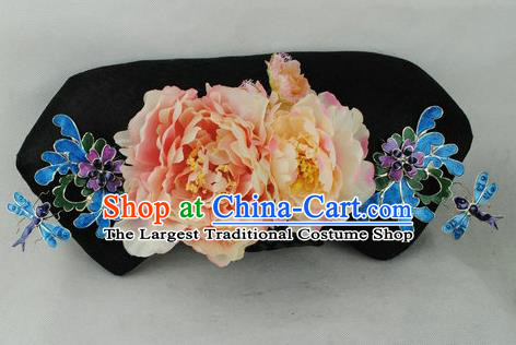Chinese Traditional Qing Dynasty Princess Peony Headwear Ancient Palace Lady Hair Accessories for Women