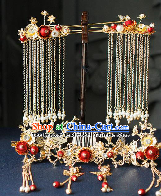 Traditional Chinese Wedding Hairpins Tassel Hair Combs Handmade Ancient Princess Hair Accessories Complete Set for Women