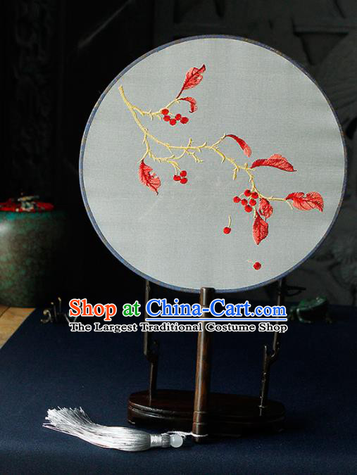 Chinese Traditional Handmade Palace Fans Ancient Princess Embroidered Red Leaf Round Fans for Women