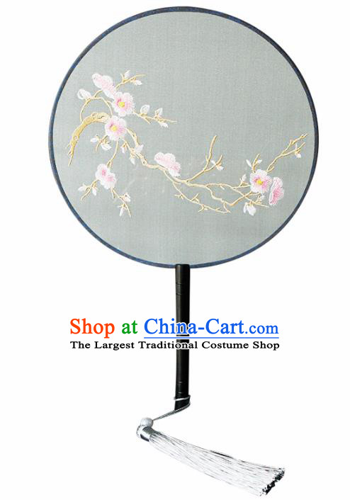 Chinese Traditional Handmade Palace Fans Ancient Princess Embroidered Plum Blossom Round Fans for Women