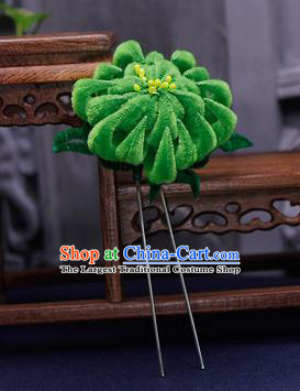 Traditional Chinese Handmade Qing Dynasty Green Velvet Chrysanthemum Hairpins Ancient Imperial Consort Hair Accessories for Women