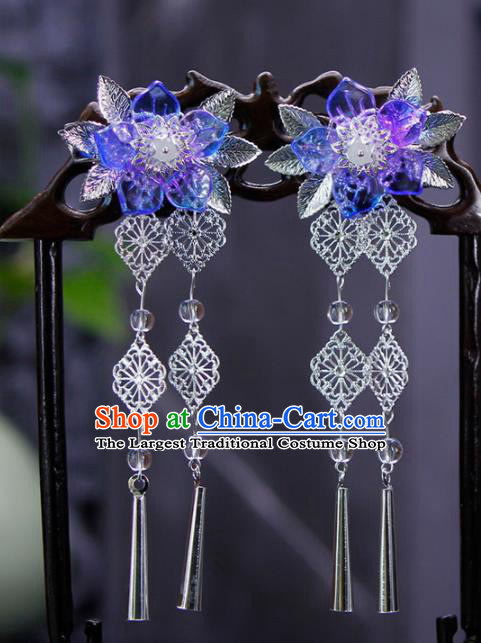 Traditional Chinese Wedding Tassel Blue Flower Hair Claws Hairpins Handmade Ancient Bride Hair Accessories for Women