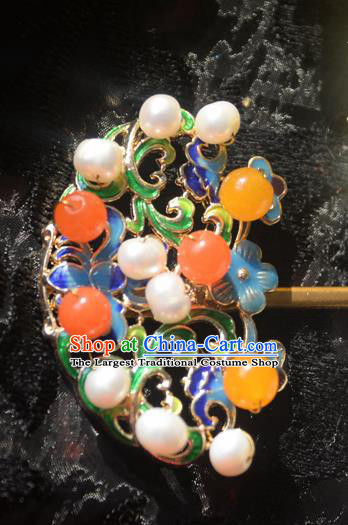 Traditional Chinese Handmade Queen Cloisonne Pearls Hairpins Ancient Imperial Empress Hair Accessories for Women