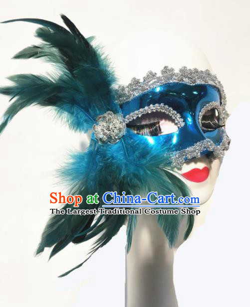 Top Halloween Stage Show Face Accessories Brazilian Carnival Catwalks Green Feather Mask for Women