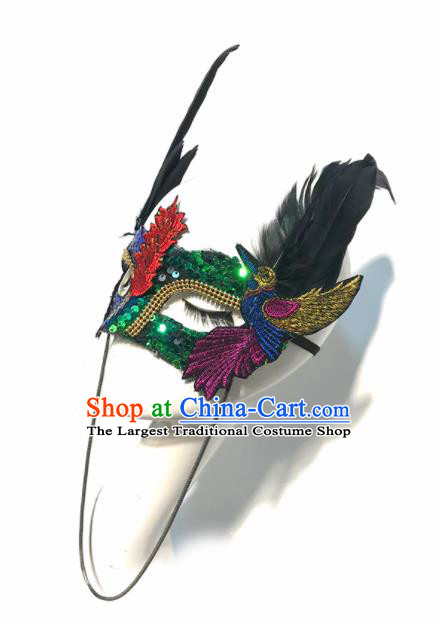 Top Halloween Stage Show Accessories Brazilian Carnival Catwalks Embroidered Feather Face Mask for Women