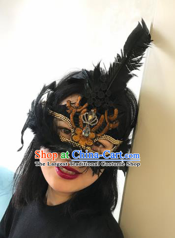 Top Halloween Stage Show Accessories Brazilian Carnival Catwalks Embroidered Black Feather Face Mask for Women