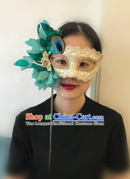 Top Halloween Stage Show Accessories Brazilian Carnival Catwalks Green Flowers Face Mask for Women