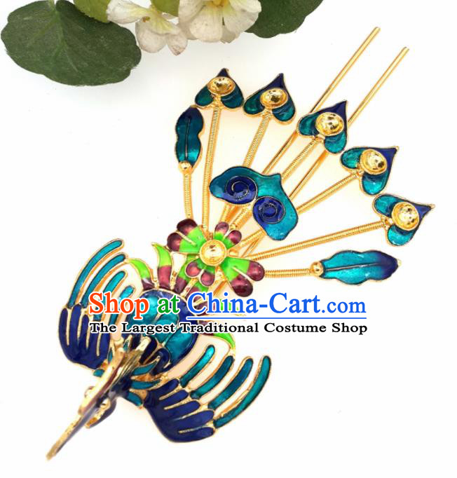 Chinese Handmade Hanfu Blueing Phoenix Hairpins Traditional Ancient Princess Hair Accessories for Women