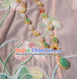 Chinese Handmade Hanfu Jade Necklace Traditional Ancient Princess Necklet Jewelry Accessories for Women