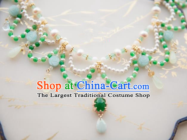 Chinese Handmade Hanfu Jade Necklace Traditional Ancient Princess Pearls Necklet Jewelry Accessories for Women