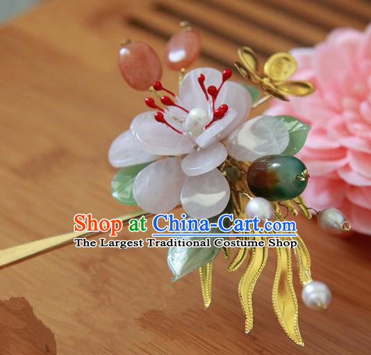 Chinese Handmade Hanfu Jade Peony Hairpins Traditional Ancient Princess Hair Accessories for Women