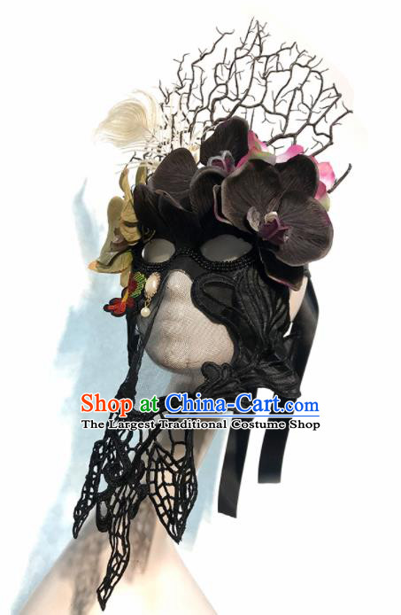 Top Halloween Stage Show Black Flowers Face Mask Brazilian Carnival Catwalks Accessories for Women